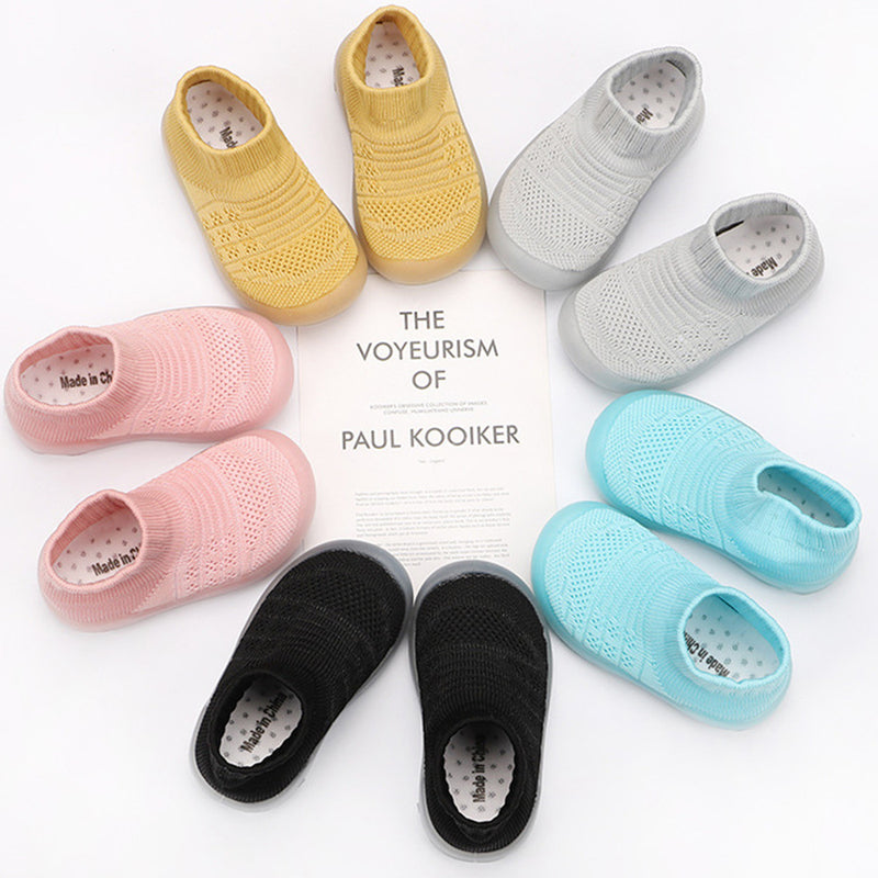 Baby Solid Comfy Kintted Sock Flats Shoes
