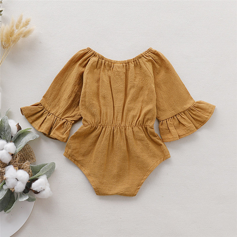 Baby Girls Solid Cotton Linen Bow Decor Long Sleeve Rompers