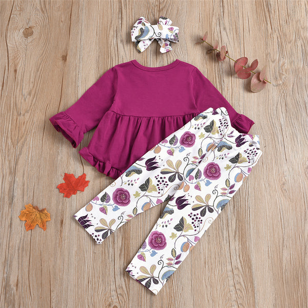 Girls Solid Crew Neck Long Sleeve Top & Floral Bow Pants & Headband Wholesale Girls