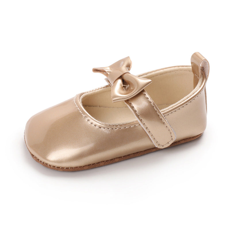 Baby Girls Solid Cute PU Magic Tape Shoes Wholesale Baby Shoes