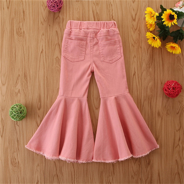 Girls Solid Denim Ripped Flared Pants Buy Wholesale Kids Clothes