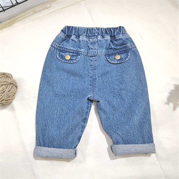 Boys Solid Elastic Waist Jeans Boy Clothes Wholesale