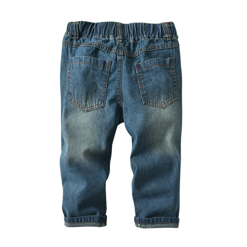 Boys Solid Elastic Waist Ripped Denim Pants Wholesale