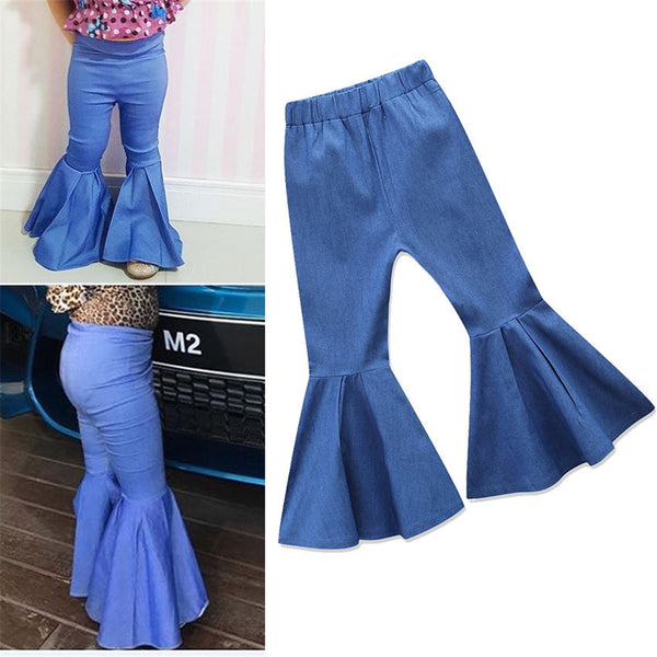 Baby Girls Solid Flared Jeans Baby Outfits Girl Wholesale