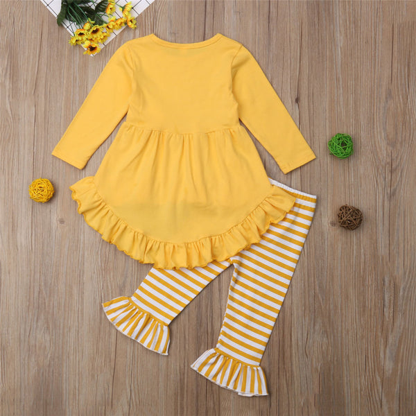 Girls Solid Flower Dovetail Dress & Flared Stripe Pants