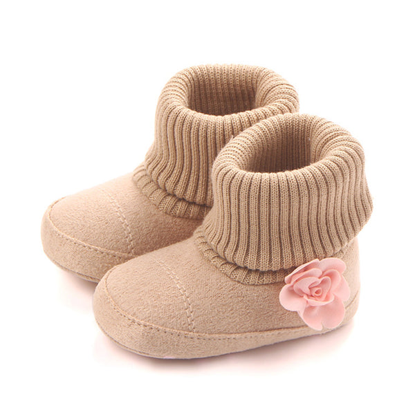 Baby Girls Solid Flower Knitted Snow Boots