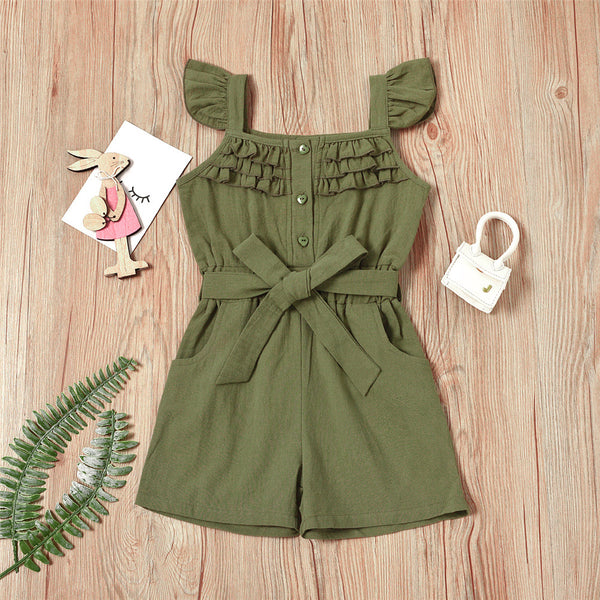 Girls Solid Flying Sleeve Jumpsuit trendy kids wholesale clothing