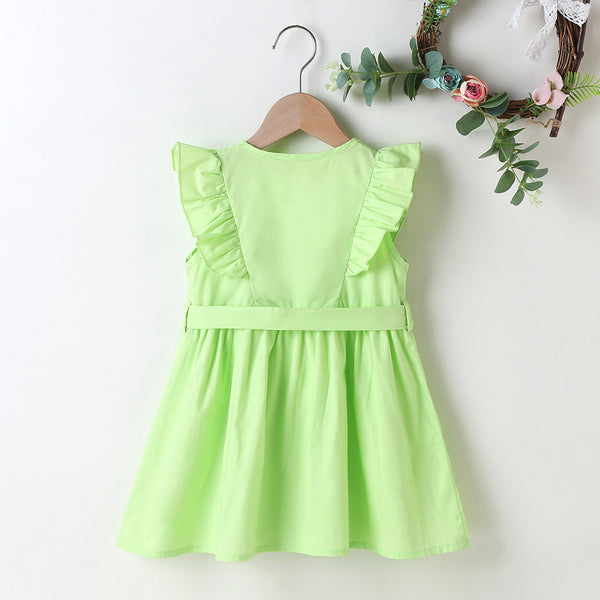 Solid Girls' Cute Dress With Bow Toddler Girl Wholesale Clothing