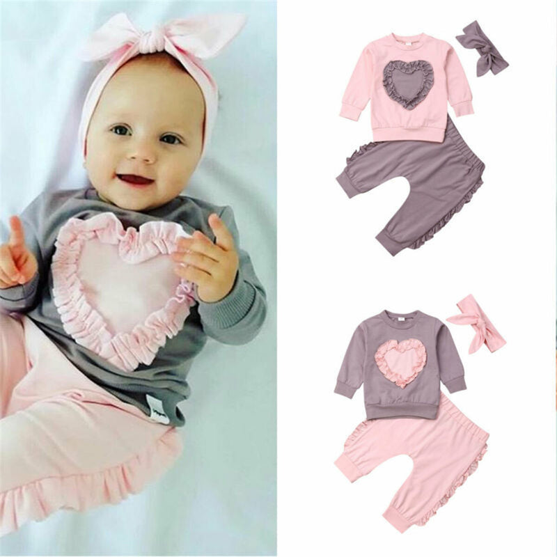 Girls Solid Heart Long Sleeve Tops & Pants & Headband