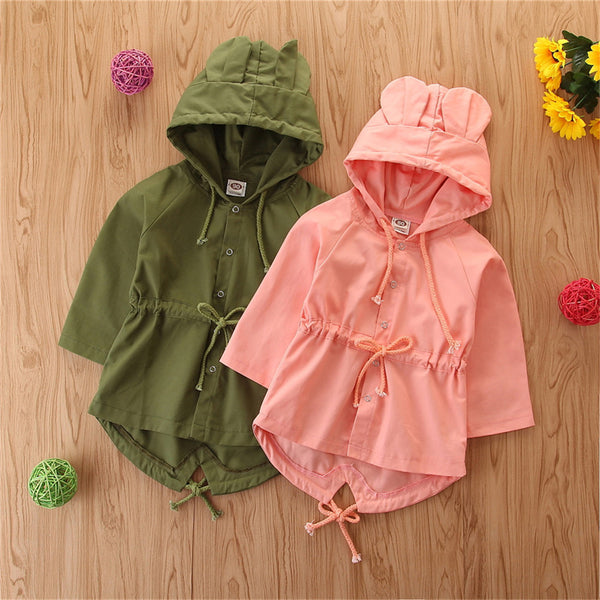 Girls Solid Hooded Long Sleeve Coats Wholesale Kids Boutique Clothing