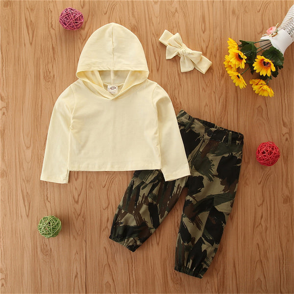 Girls Hooded Long Sleeve Top & Camo Pants & Headband Wholesale Girls