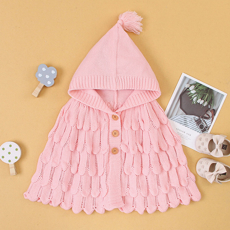 Girls Solid Knitted Cloak Cardigan Sweater Wholesale Girls Accessories