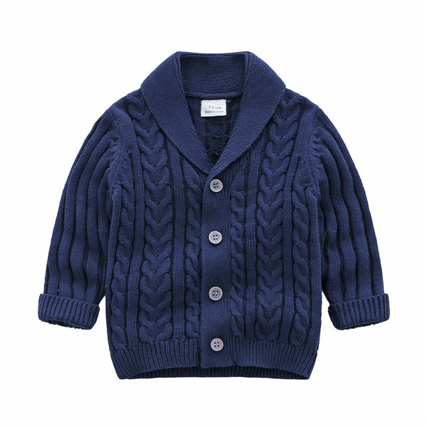 Baby Boys Solid Sweaters Long Sleeve Button Cardigan Jacket