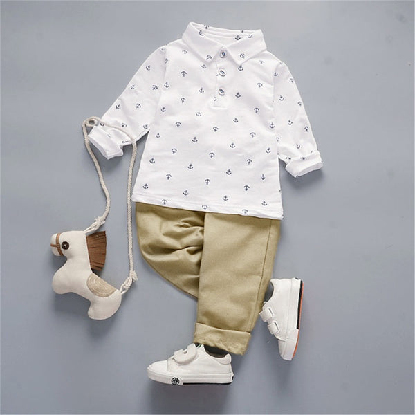 Boys Solid Lapel Long Sleeve Anchor Print Shirt & Pants