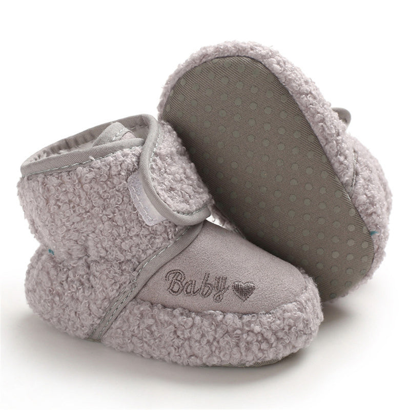 Baby Solid Letter Printed Magic Tape Snow Boots