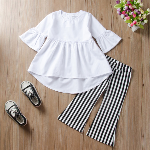 Toddler Girls Solid Long Sleeve Blouse Flare Pants Girls Clothes Wholesale
