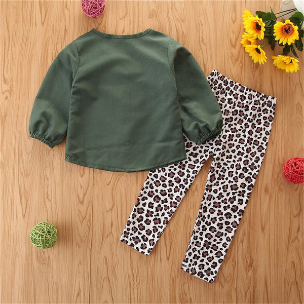 Girls Solid Long Sleeve Button Blouse & Leopard Pants Toddler Girls Wholesale