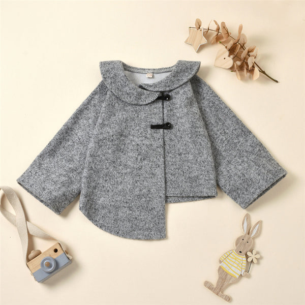 Girls Solid Long Sleeve Button Irregular Coat Wholesale Girl Clothing