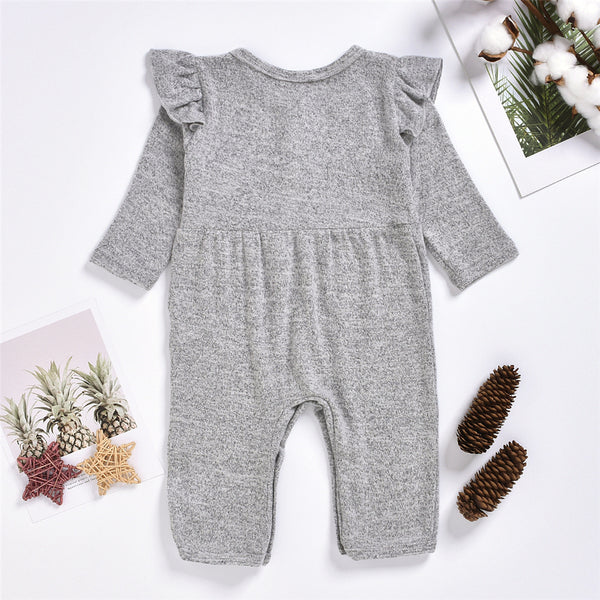 Baby Girls Solid Long Sleeve Casual Baby Romper Wholesale