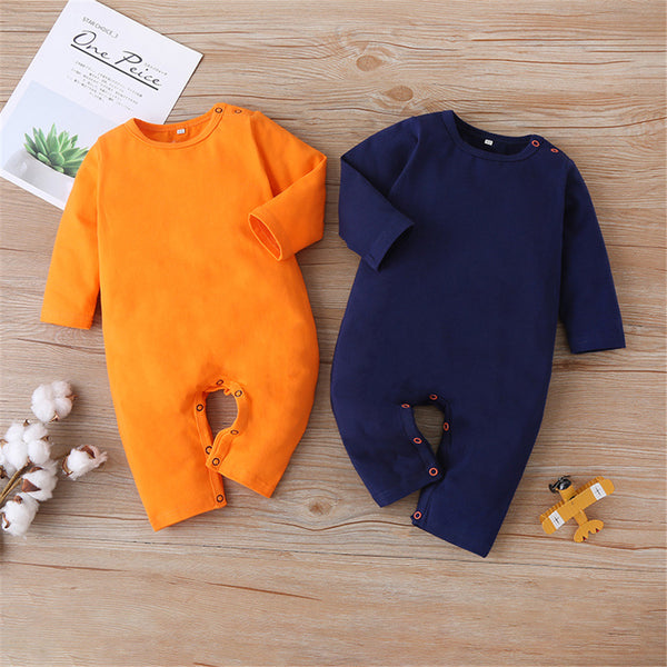 Baby Unisex Solid Long Sleeve Casual Romper Baby Romper Wholesale