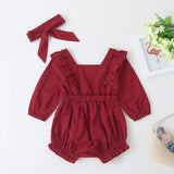 Baby Girls Solid Long Sleeve Casual Romper & Headband