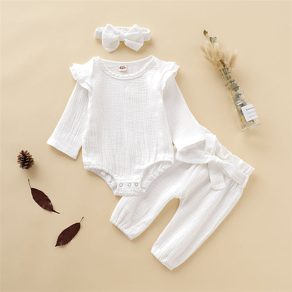 Baby Girls Solid Long Sleeve Casual Romper & Pants & Headband Wholesale