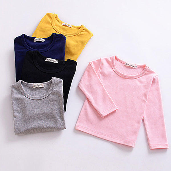 Toddler Girls Solid Long Sleeve Casual T-shirt Wholesale Girls Clothes Wholesale