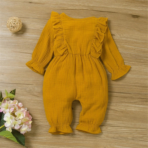 Baby Girls Solid Long Sleeve Cotton Linen Romper Baby Clothing In Bulk
