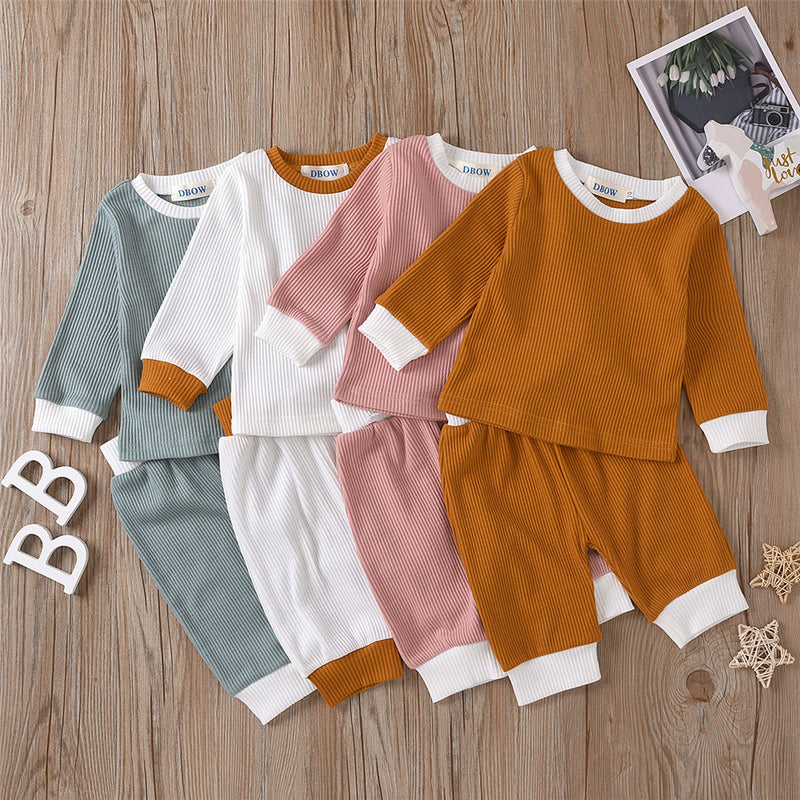Girls Solid Long Sleeve Crew Neck Tops & Pants