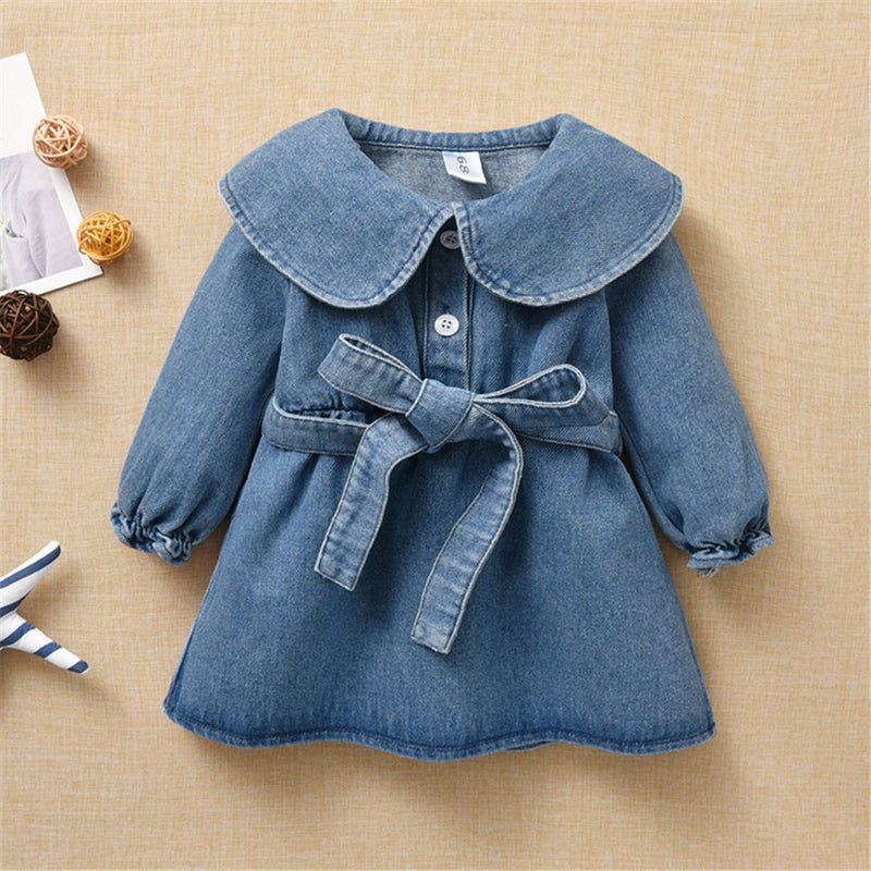 Baby Girls Solid Long Sleeve Denim Dress & Belt Baby Boutique Wholesale