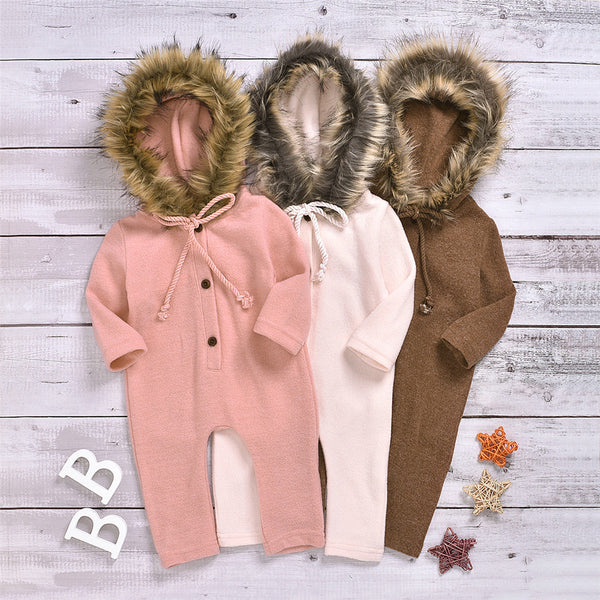 Baby Solid Long Sleeve Furry Hooded Warm Romper