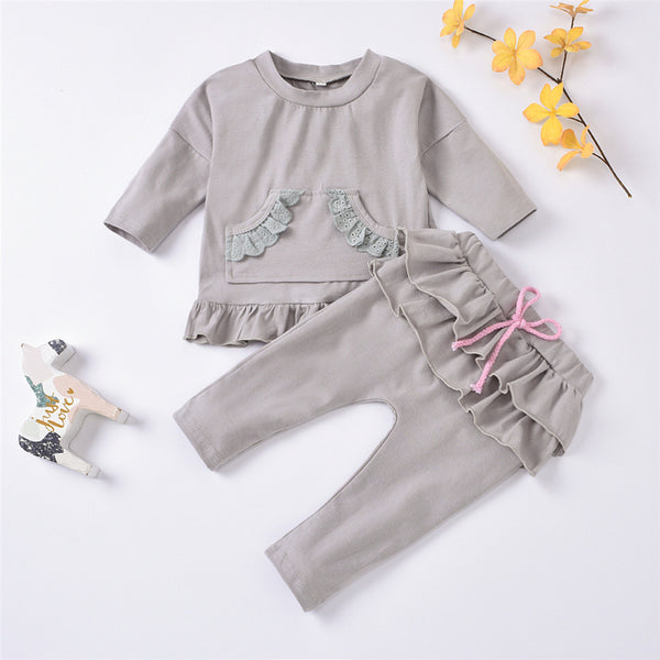 Baby Girls Solid Long Sleeve Pullover & Pants Cheap Boutique Baby Clothing