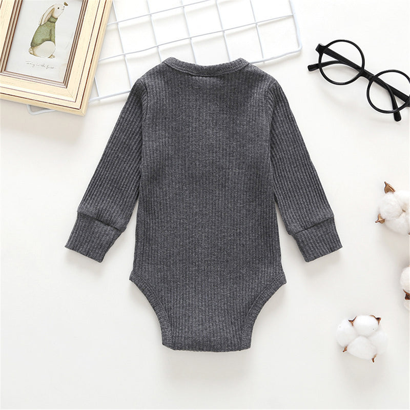 Baby Girls Solid Long Sleeve Romper Baby Wholesale Clothes