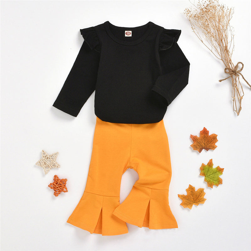 Baby Solid Long Sleeve Romper & Flare Trousers