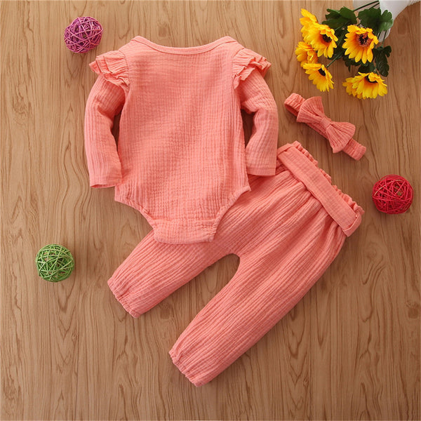 Baby Girls Solid Long Sleeve Romper & Pants & Headband Wholesale Baby