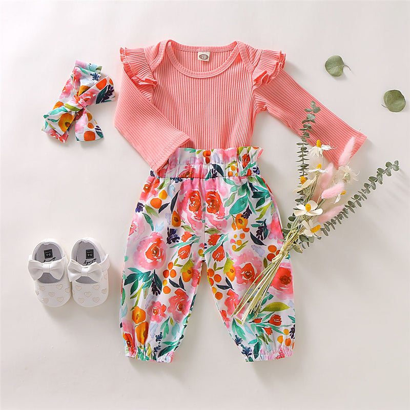 Baby Girls Solid Long Sleeve Romper & Pants & Headband