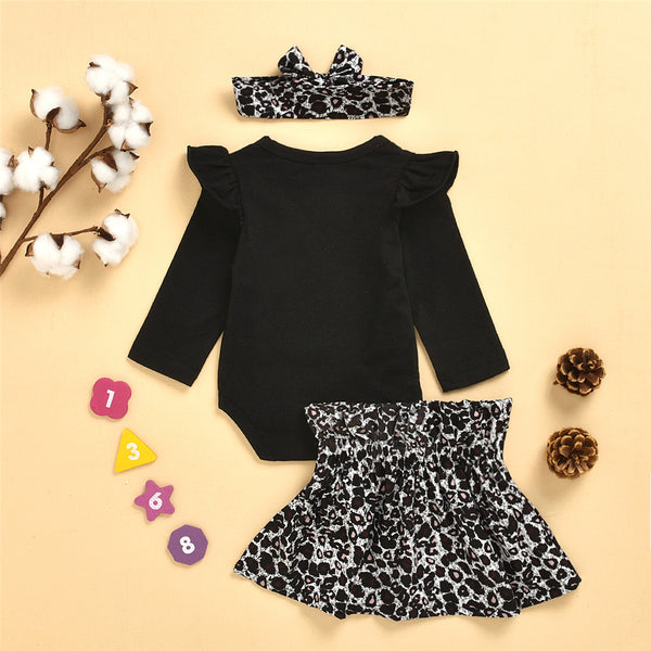 Baby Girls Solid Long Sleeve Romper & leopard Skirt & Headband Wholesale