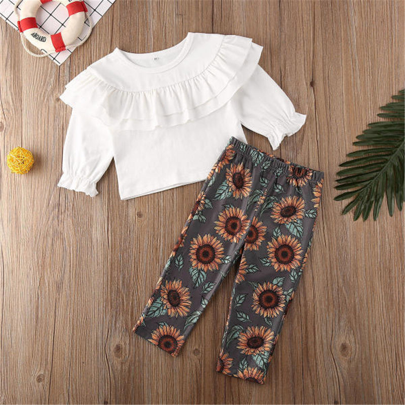 Girls Solid Long Sleeve Ruffle Blouse & Floral Pants