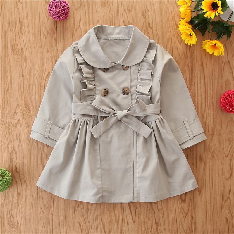 Girls Solid Long Sleeve Ruffle Casual Coats Wholesale