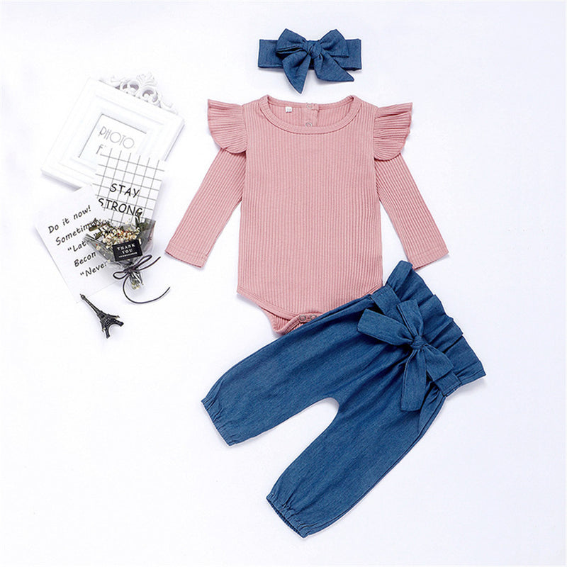 Baby Girls Solid Long Sleeve Ruffle Tops & Pants & Headband