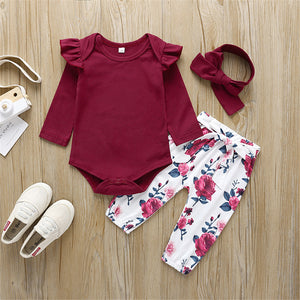 Baby Solid Long Sleeve Ruffled Romper & Floral Pants & Headband