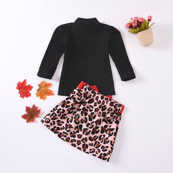 Girls Solid Long Sleeve Sweaters & Leopard Bow Skirt Girl Wholesale