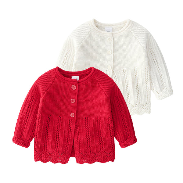 Baby Girls Solid Long Sleeve Sweet Cardigan Sweater Jackets