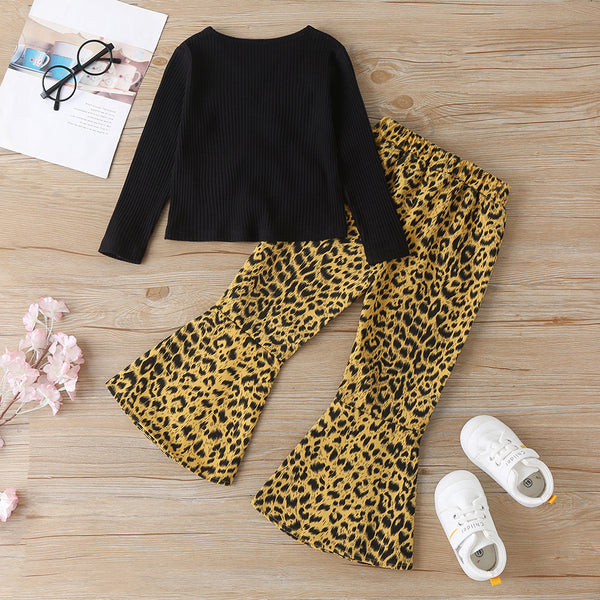 Girls Solid Long Sleeve Top & Leopard Flared Pants Kids Wholesale Clothing