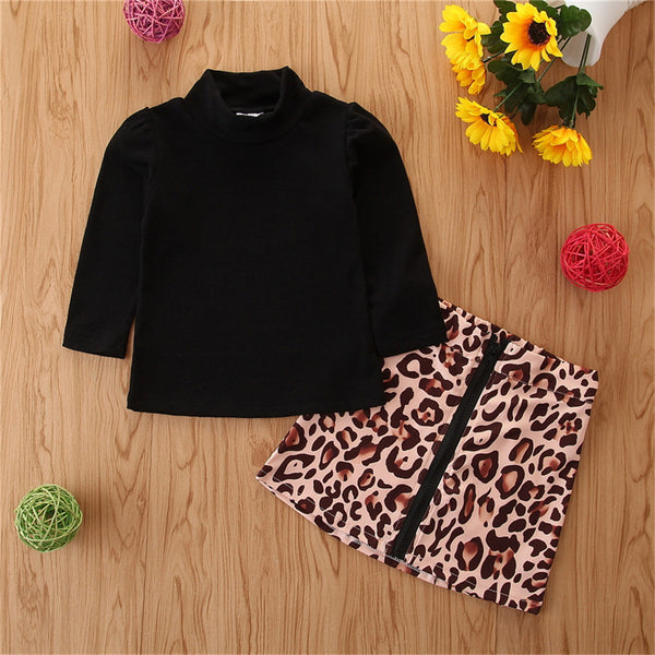 Toddler Girls Solid Long Sleeve Top & Leopard Skirt Baby Clothes Vendors