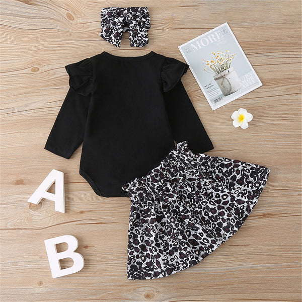 Baby Girls Solid Long Sleeve Top & Leopard Skirt & Hairband Baby Outfits