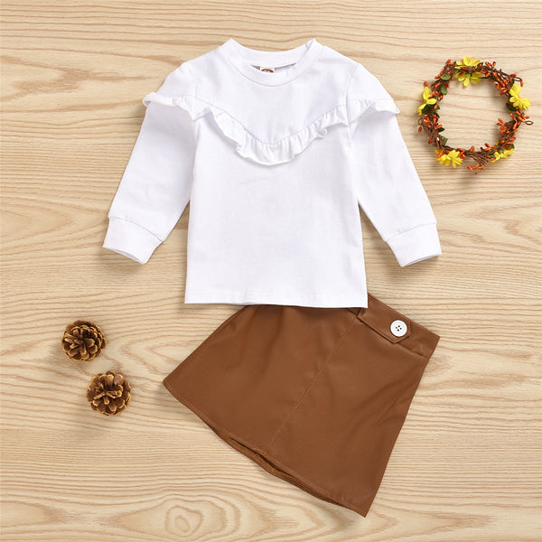 Girls Solid Long Sleeve Top & PU Skirt Wholesale Girls Boutique Clothing