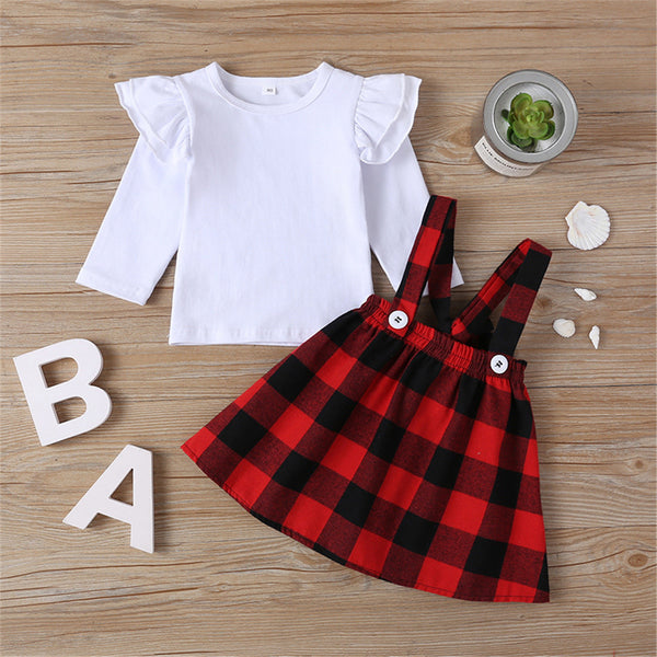 Girls Solid Long Sleeve Top & Plaid Skirt Wholesale Girl Boutique Clothing