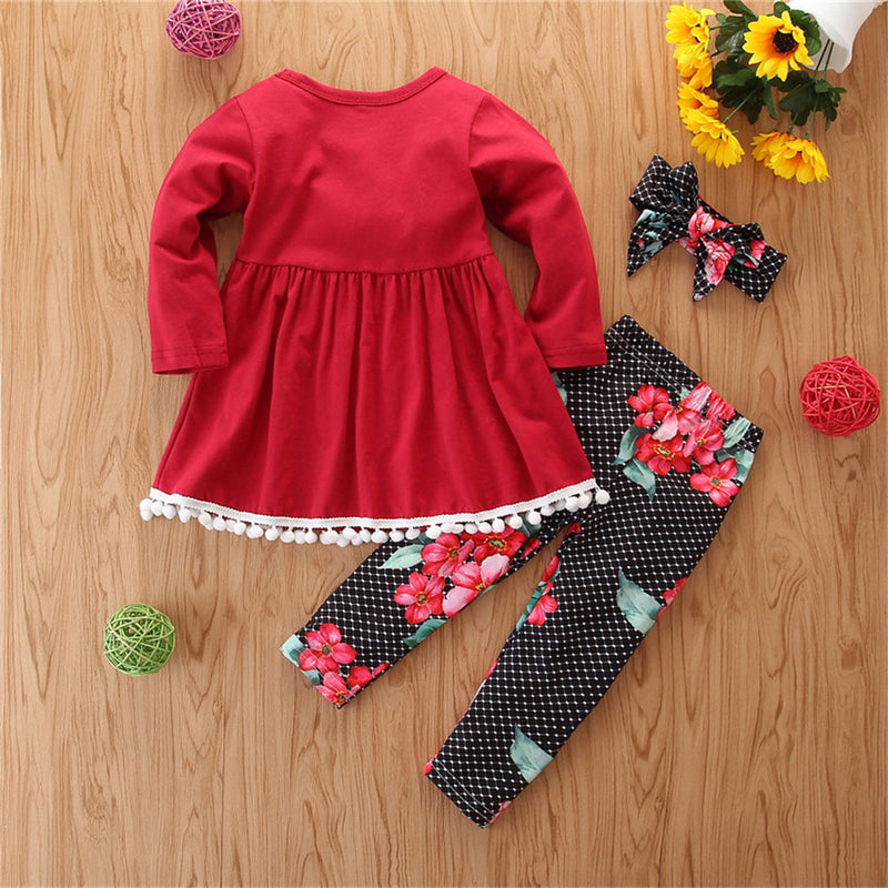 Girls Solid Long Sleeve Tops & Floral Pants Wholesale Kids