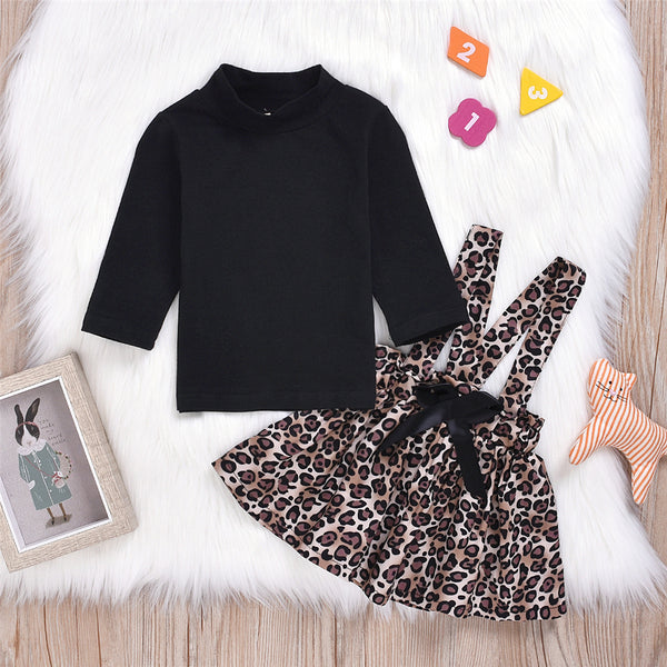 Baby Girls Solid Long Sleeve Turtleneck Top & Leopard Skirt Girl Wholesale